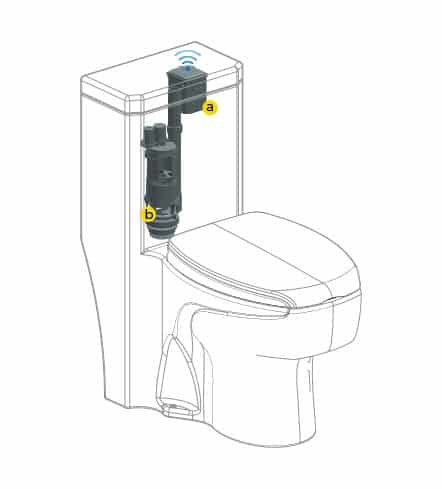 Wave on touchless toilet flush spare parts installtion