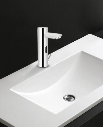 Cold and hot water touchless basin faucet