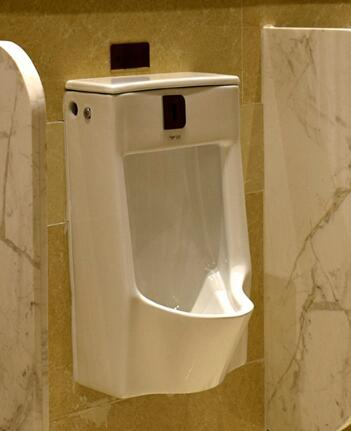automatic urinal flush in public washroom