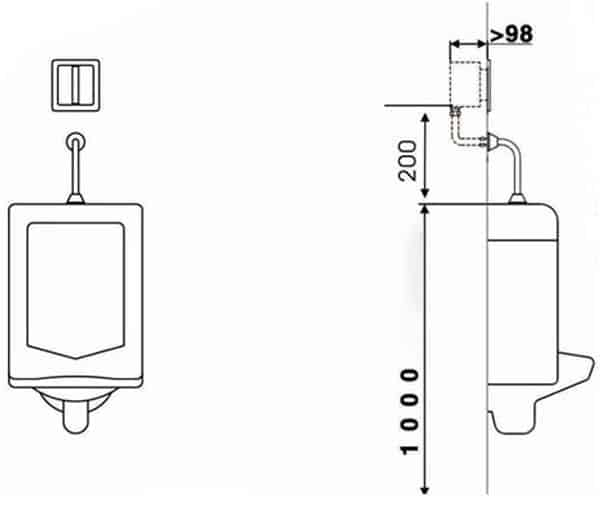 Auto Urinal Flusher Valve KEG-1011AD installation diagram