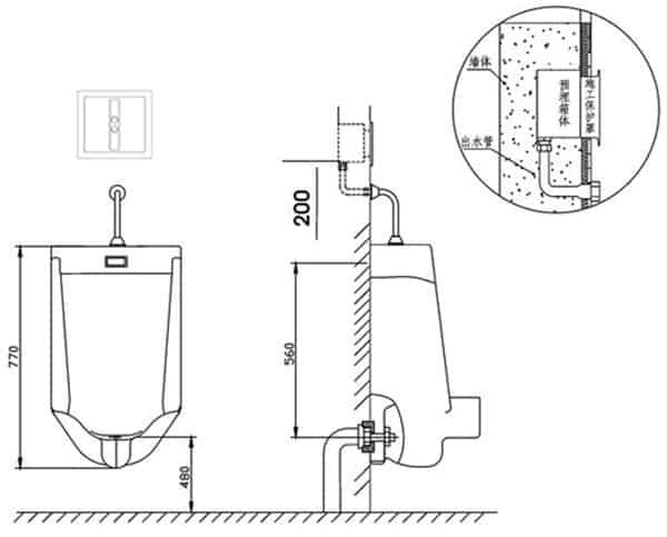 Auto Urinal Flusher Valve KEG-1012AD installation diagram