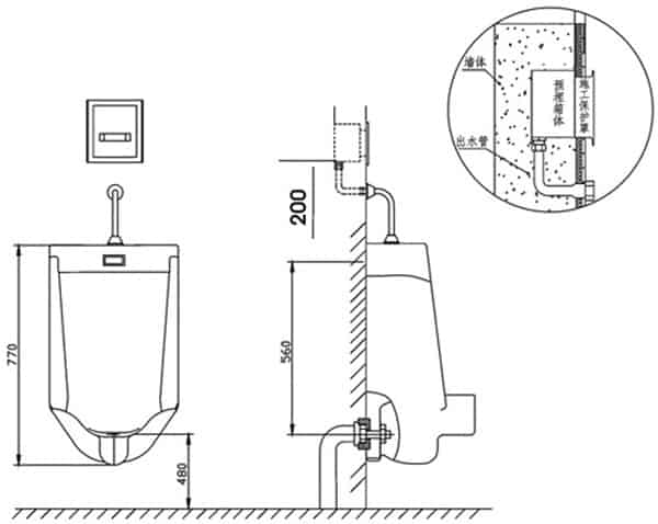 Auto Urinal Flusher Valve KEG-1022AD installation diagram