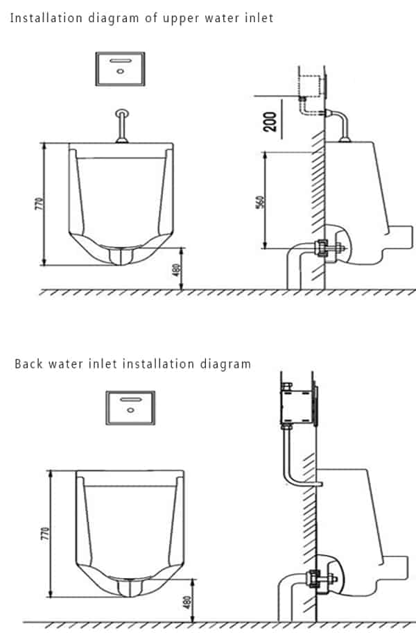 Auto Urinal Flusher Valve KEG-1067AD installation diagram