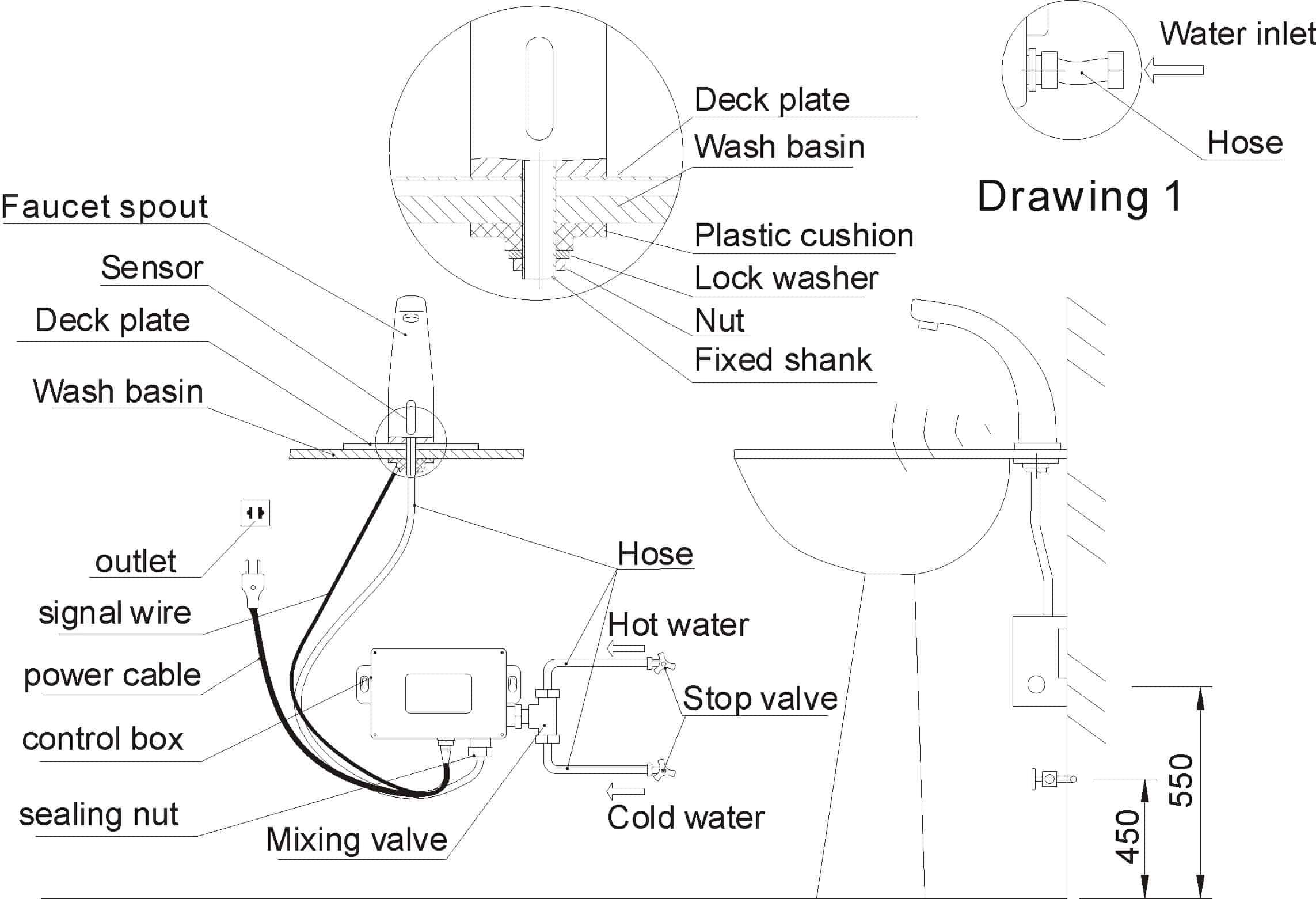 Automatic bathroom faucet KEG-8155 installation