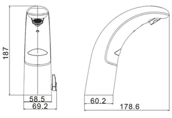 Integrated Sensor Faucet Hot And Cold KEG-8902 size