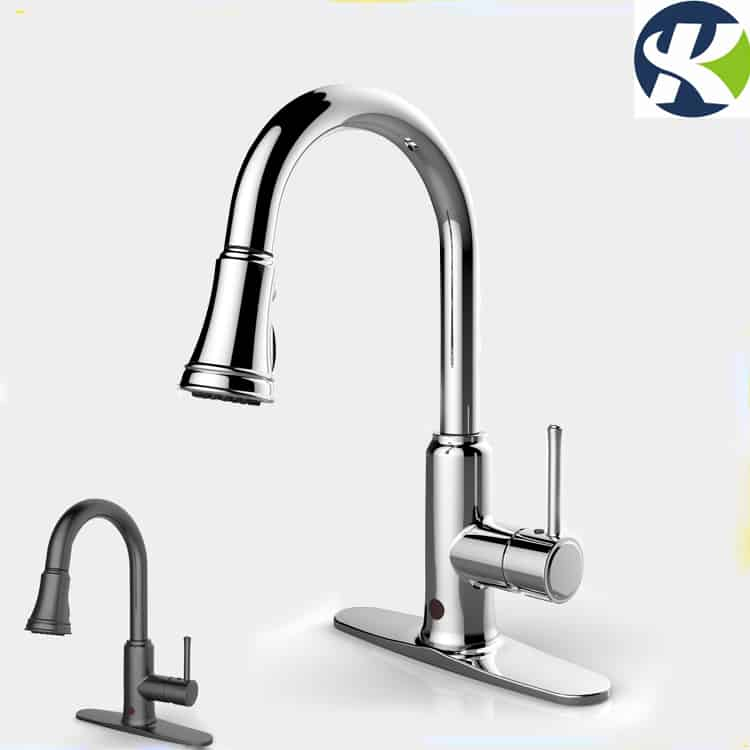 Motionsense handfree kitchen sink faucet chrome and black