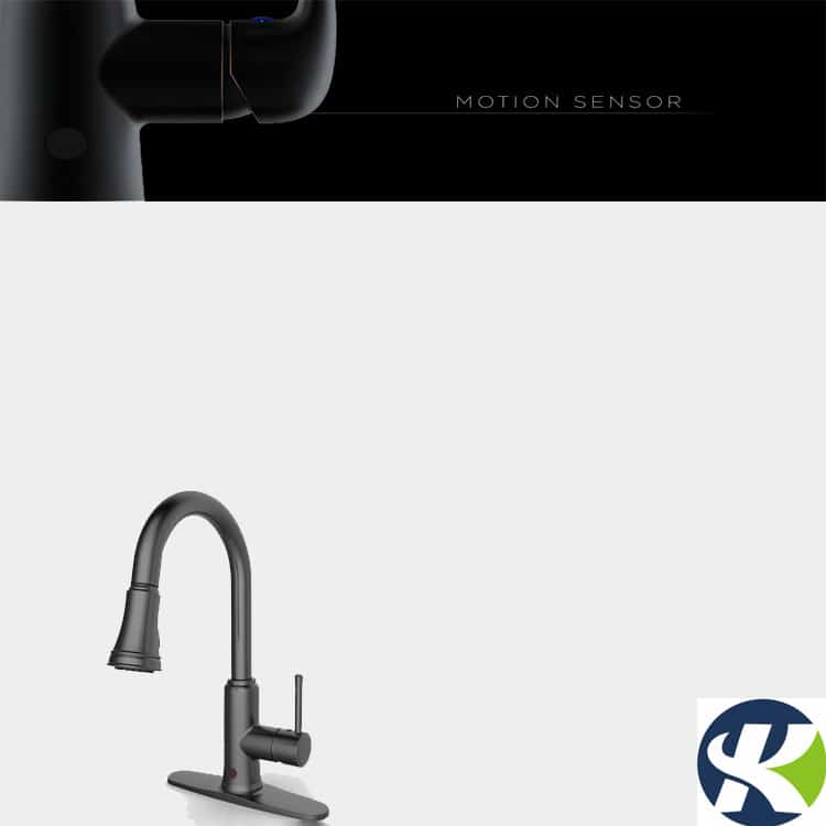 Motionsense handfree kitchen sink faucet black