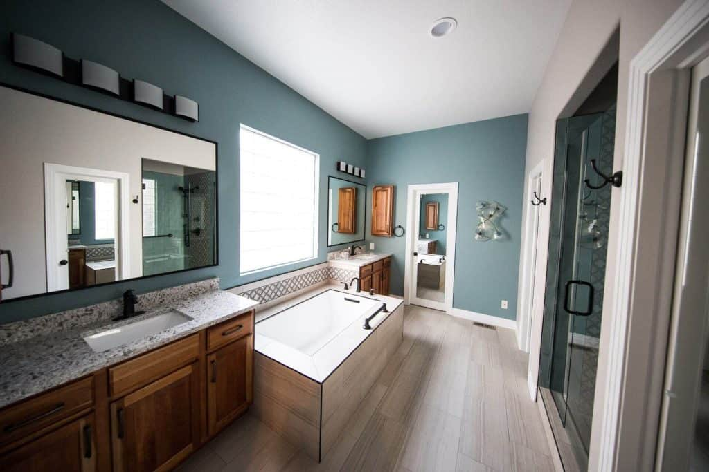 Modern bathroom with touchless faucets