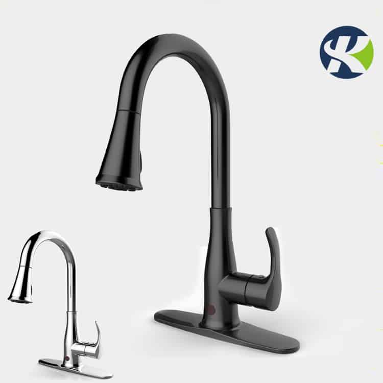 black and chrome touch free kitchen faucet