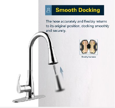 Smooth Docking touchless kitchen faucet