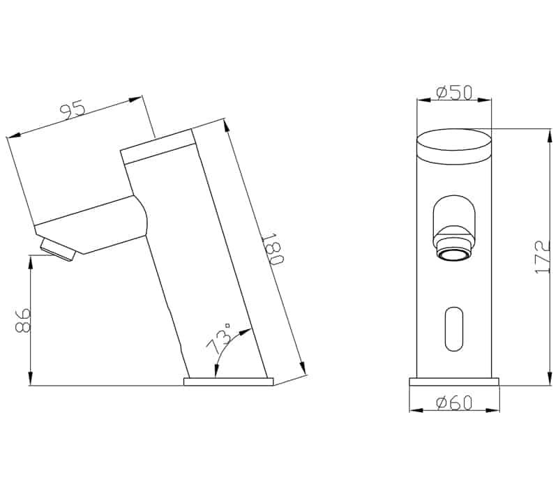 Touchless Basin Faucet KEG-8120 sizes