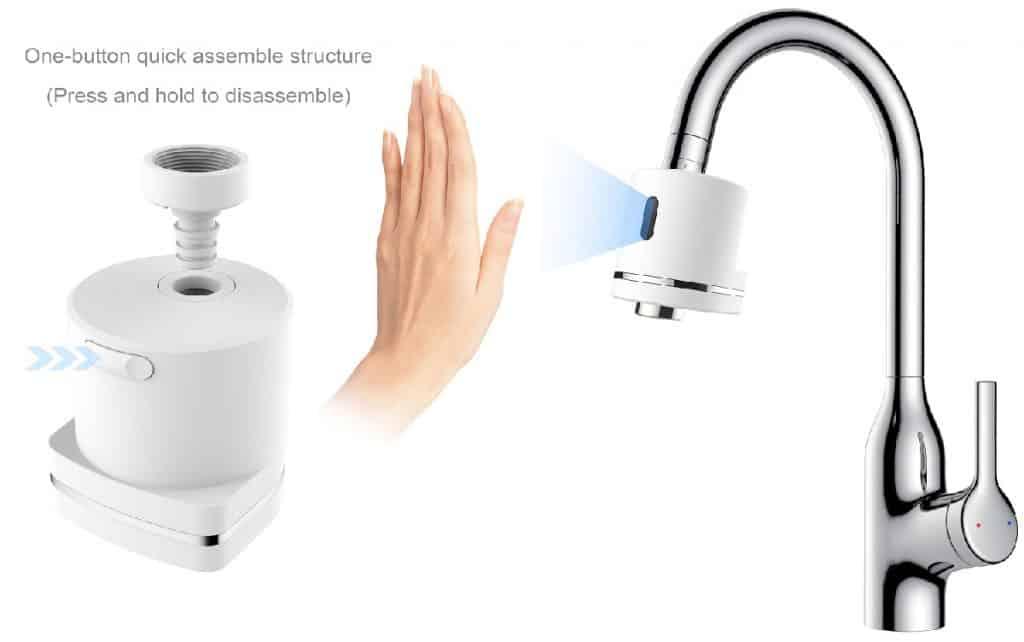 one button quick assemble touchless faucet device