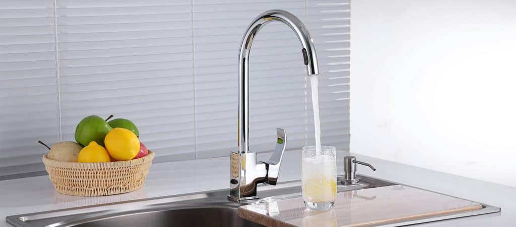 stainless steel chromed automatic kitchen faucet