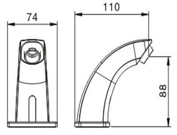 Automatic Sensor Faucet KEG-825 size