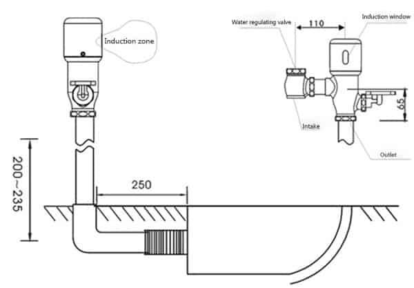 Touchless Toilet Flusher Valve KEG-3300D installation