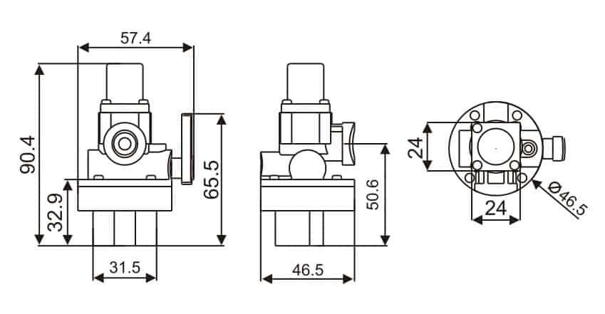 Solenoid Valve keg-8904 dimension
