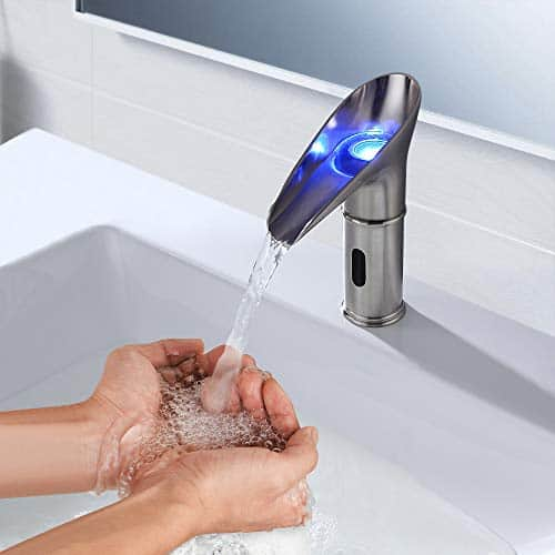 BULUXE LED Touchless Bathroom Sink Faucet with Automatic Electronic Sensor, Brushed Nickel