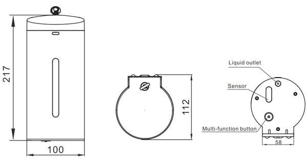 Wall mounted automatic soap dispenser KEG-610 size
