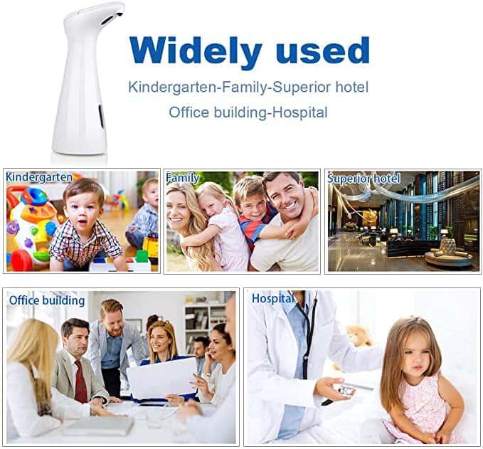 application 200ml white automatic soap dispenser