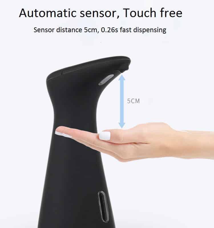 sensor distance 200ml black automatic soap dispenser